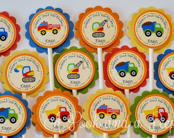 Construction Truck Birthday or Shower Cupcake Toppers Set of 12