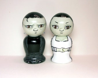 Frankenstein Wedding Cake Toppers wth Bride Wooden Kokeshi Dolls