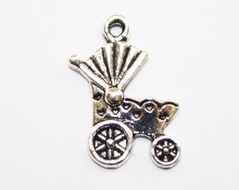 Baby Carriage Charms, Silver Small Charms, Baby Showers Charms, New Mother Charms, Bracelet Charms - 19x11mm - 20ct -#541