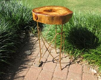Small rustic wooden accent table.