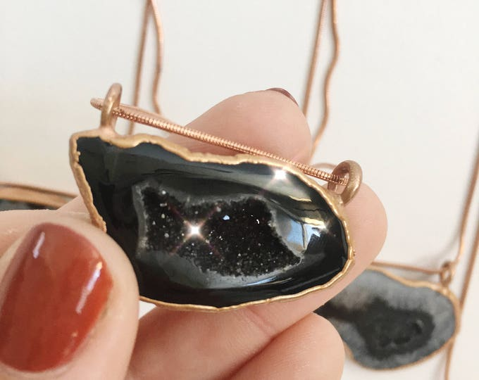 Black Geode Druzy Crystal Agate Copper Necklace