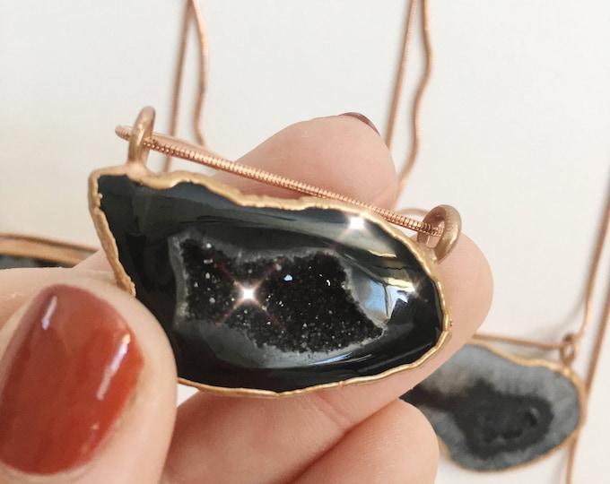 Black Geode Druzy Crystal Agate Copper Necklace