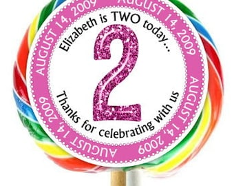 2nd Birthday Stickers, Lollipop Stickers, Second Birthday Party, Extra Large Personalized Stickers, Fit on WHIRLY LOLLIPOPS