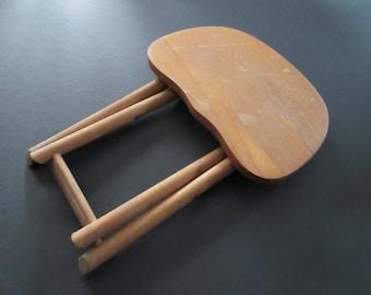 Vintage Primitive Small Light Wood Folding Stool - Fold N Carry