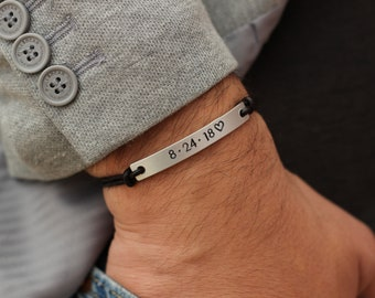 Custom Date Matching His Hers Bracelet, Couples Bracelet, Leather Bracelet for Couples, Couples Jewelry