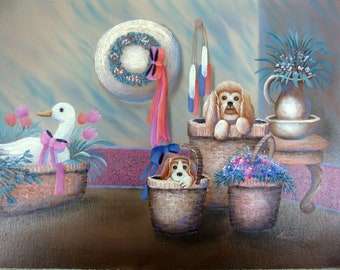 Kendrian Original Oil on Canvas Painting Puppies in Baskets Duck in a Basket Unstretched