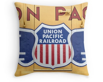 Union Pacific Train Pillow Cover, Man Cave Decor, Railfan, Yellow Train Photo Pillow, Father's Day, Boys Room Decor, Garage Decor, Gift Idea
