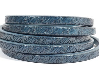 Regaliz Licorice Leather - Embossed Blue - Choose Your Length