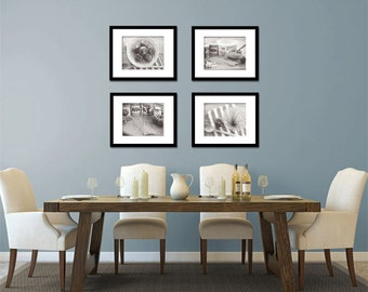 Food Photography - Kitchen Art - Italian - Set of Four (4) Black & White Photos - Fine Art Photography Prints - Kitchen/Dining Room Decor
