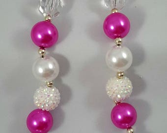 BUBBLEGUM CHILDREN'S NECKLACE ~ Chunky Acrylic Bubblegum Beads - Hot Pink & White