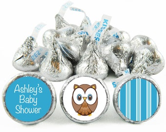 Set of 108 - Owl Boy Baby Shower Stickers for Hershey's Kisses. Owl Baby Shower Kisses - Owl Baby Shower Favors - #IDBBS600