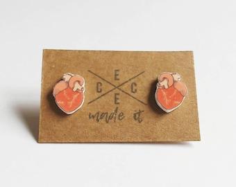 Anatomical Heart Stud Earrings