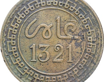 1321 (1903) Morocco 5 Mazunas Abd al-Aziz Coin