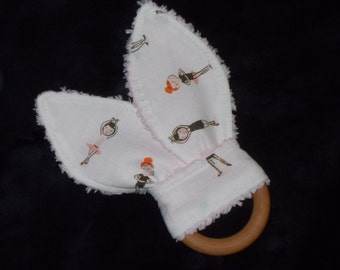 Cream Ballerinas Rabbit Ears Wooden Teething Ring