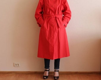 ON SALE 20% OFF Red Coat Women's Trench Coat Classic Trench Coat Red Women Trenchcoat Vintage Raincoat Lining with Belt