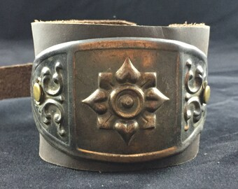 Vintage Hardware Leather Bracelet