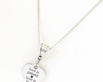 Scripture Necklace Gift, Love Is Patient Love Is Kind Necklace, 1 Cor 13 Necklace, 1 Cor 13 Jewelry, Wedding Jewelry Gift For Her