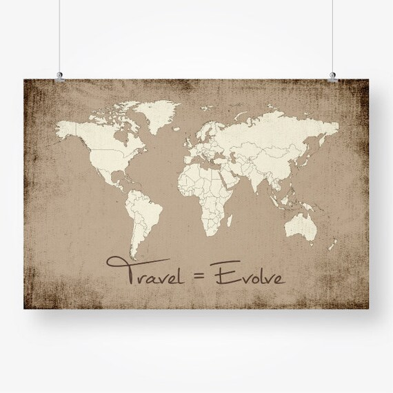 World map with countries beige brown rustic large world map of world map with countries beige brown rustic large world map of the world travel quote wall art decor printable digital instant download pdf gumiabroncs Images
