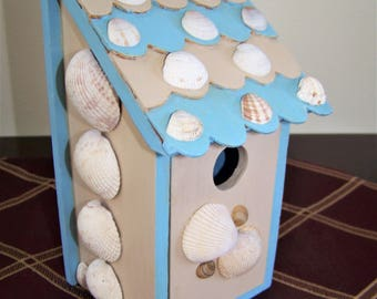 Garden Birdhouse with Seashells- Father's Day Gift-Beach/Nautical Decor- Pale Blue & Beachcomer Beige-Handpainted/Decorated-Front Door Opens