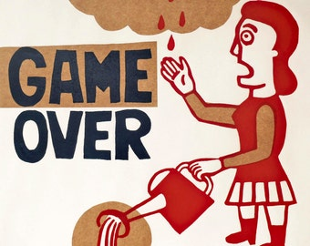 game over / hand printed woodcut and collage / limited edition