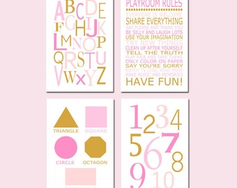 Playroom Decor Girl Playroom Art Playroom Wall Art Set of 4 Playroom Prints Alphabet Numbers Playroom Rules Kids Art - CHOOSE YOUR COLORS