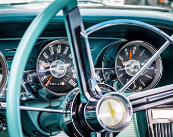 Classic Vintage Car Dashboard Wheel Art Print Wall Decor Color Image - Unframed Poster