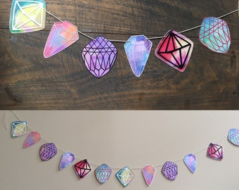 Diamond Illustrated Gem Paper Banner, Garland, nursery, office decor, drawing