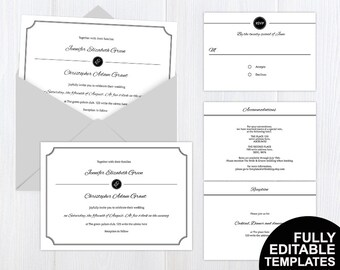 Simple elegant wedding invitation suite| Invitation and rsvp set|  wedding templates| Instant download| Black and white| All colors
