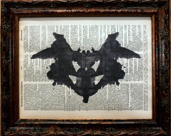Rorschach Ink Blot 1 Art Print on Dictionary Book Page