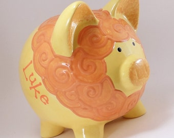 Yellow Lion Piggy Bank - Personalized Piggy Bank - Ceramic Lion Bank - Baby Nursery Bank - Jungle Theme - Baby Gift - with hole or NO hole
