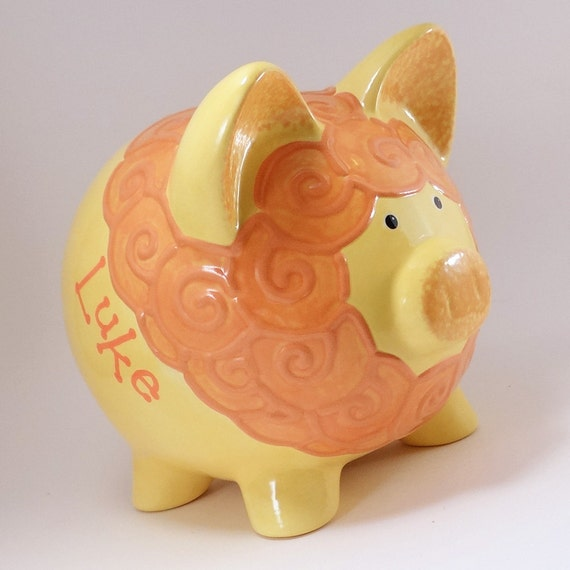Yellow Lion Piggy Bank Personalized Piggy Bank Ceramic