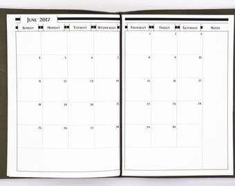 2018 Month on 2 Page Planners - A5 Size Traveler's Notebook Insert - Sunday Start - MO2P