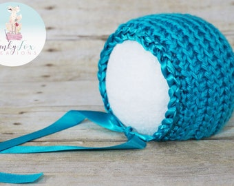 Ribbon Edge Bonnet (Teal) Newborn Photography Prop