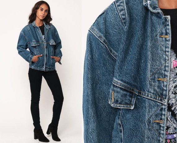GAP Jean Jacket 90s Denim Jacket Oversized Jean Jacket Trucker Blue Stone Wash 1990s Vintage Biker Grunge Hipster Coat Small f6gLA0