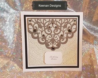 Birthday handmade layered gem 250 gsm card 8x8 inch embossed pattern card
