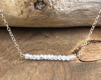 June Birthday Gift - June Birthstone Necklace - Raw Rainbow Moonstone Necklace - Healing Crystal Necklace - Moonstone Jewelry