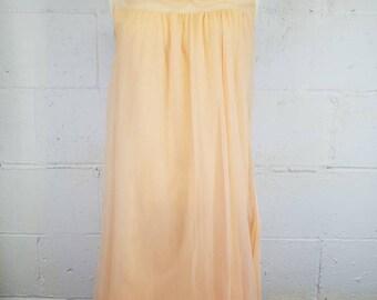 Vintage Orange Peach Sheer Nylon Chiffon Nightgown  Vintage Lingerie  Pin Up Lingerie  Sissy