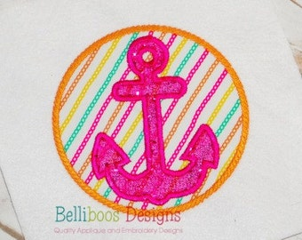 Embroidery design anchor wave applique 3 size embroidery design