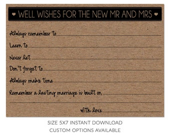 Fill in The Blank Card Well Wishes for The New MR. & MRS.