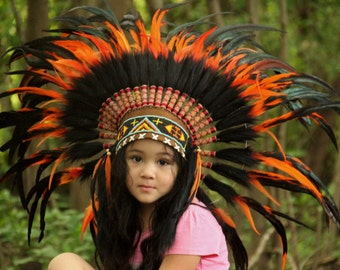 ON SALE Kids indian headdress replica,  short length, brown black and orange warbonnet, children's costume native american style