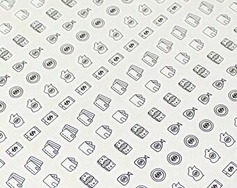 Clear Waterproof Planner sticker. clear money sticker, assorted money label, coin sticker, saving sticker, clear sticker (L072)