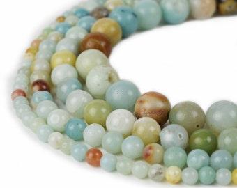 "Natural Amazonite Beads 4mm 6mm 8mm 10mm 12mm Round 15.5"" Full Strand Wholesale Gemstones"