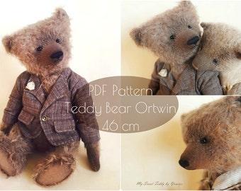PDF Pattern Teddy Bear Ortwin 43 cm/17 inches, instsnt download, artist teddy bear pattern, interior doll pattern