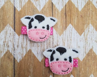 Cow hair clips, cow hair clippies, cow hair bows, toddler hair clips, baby hair clips, pigtail bows, clippies, hair clips, cow bows, clippie