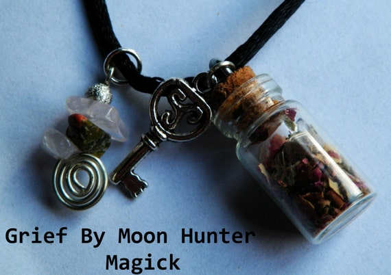 Release Charm Bottle Amulet Necklace Overcoming Grief Cleansing Letting Go