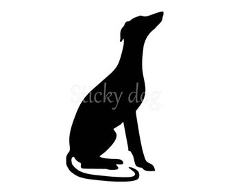 Whippet sitting silhouette sticker