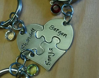 Hand Stamped Personalized Best Friend Puzzle Piece Keychains - Set of 3 - Sisters Gift - Mother Daughters Gift - Best Friend Gift -
