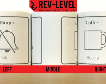 Ringer Silent, Coffee Ready Funny Mug - IPhone Silent Icon Brew - Tea Break Cup by Rev-Level