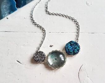 Time and Space Necklace // Space Jewelry // Solar System // Druzy Jewelry // Steampunk Jewelry // Watch Part Jewelry // OOAK