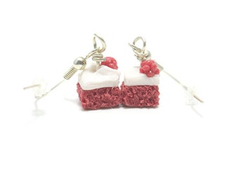 Red Velvet Cake Earrings, Miniature Food Jewelry, Polymer Clay Food Jewelry